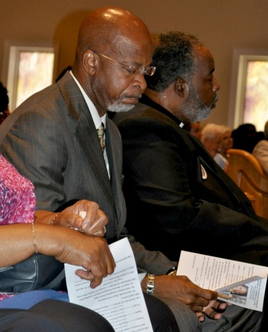 South Carolina State Senator Ronnie Sabb in attendance at the prayer vigil at St. Stephen AME Church, photograph by Max Hrenda, June 22, 2015, Georgetown, South Carolina, courtesy of <em>South Strand News</em>.