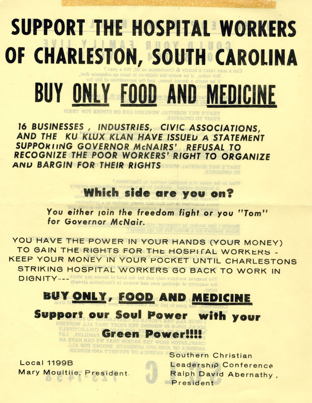 Flyer for hospital workers' boycott, Charleston, South Carolina, 1969, courtesy of the Catherwood Library Kheel Center at Cornell University.