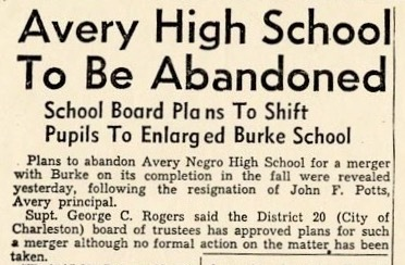 """Avery High School To Be Abandoned,"" the<em> News and Courier</em>, April 14, 1954, Charleston, South Carolina, courtesy of the Avery Research Center."