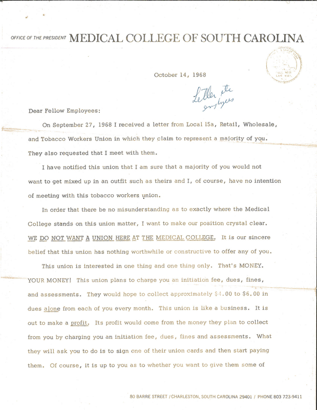 Letter from Dr. William McCord to striking Hospital workers, 14 October 1968, courtesy of the Catherwood Library Kheel Center at Cornell University.