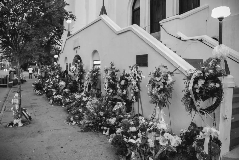Flowers left at the Emanuel AME Church, photograph by Brandon Coffey, June 29, 2015, Charleston, South Carolina.