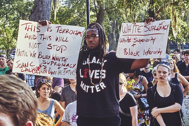 A Black Lives Matter marcher, photograph by Zach NeSmith, June 20, 2015, Charleston, South Carolina.