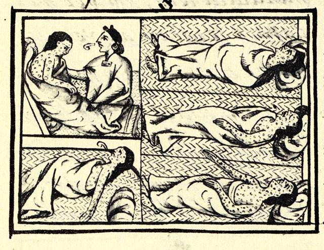 Indigenous Nahuas person from the conquest-era in Central Mexico suffering from smallpox, drawing, from <em>Book XII of the Florentine Codex,</em> ca. 1585.