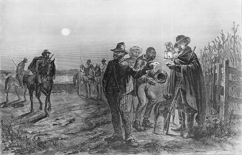 Sketch of a slave patrol stopping enslaved men in search of slave passes, Frederic B. Schell, New Orleans, Louisiana, 1863, courtesy of the Library of Congress.