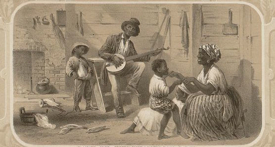 "Print portraying an enslaved family in their cabin titled, ""Oh carry me back to ole Virginny,"" 1859, courtesy of the Library of Congress."
