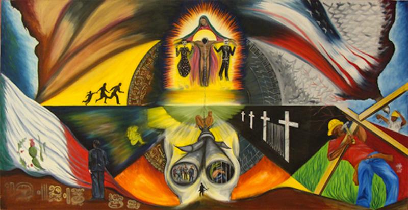 <em>Frontera</em><em>,</em><span>&nbsp;pintura de&nbsp;</span>Cornelio Campos<span>, Durham, Carolina del Norte. Esta pintura, simboliza la frontera entre Estados Unidos y México, y las oportunidades y el peligro que se presentan al que cruza.</span>