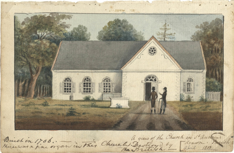 Watercolor of St. Andrew's Church, by Charles Fraser, from Charles Fraser's Sketchbook, Mt. Pleasant, South Carolina, 1800, courtesy of the Gibbes Museum of Art.