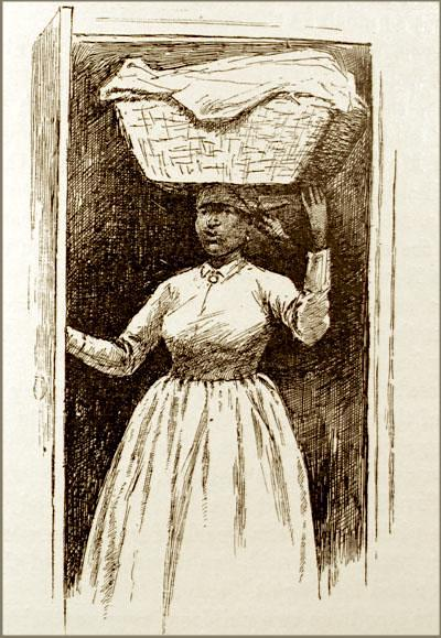 Enslaved woman conducting domestic labor,illustrated by E. W. Kemble, from Uncle Tom's Cabin,Harriet Beecher Stowe,1891, courtesy of the University of Virginia.