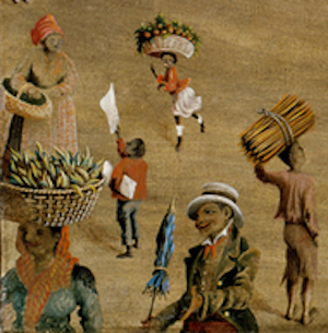 "Detail from ""Charleston Square,"" painting by Charles J. Hamilton, Charleston, South Carolina, 1872, courtesy of the Abby Aldrich Rockefeller Folk Art Museum, The Colonial Williamsburg Foundation, Museum Purchase."