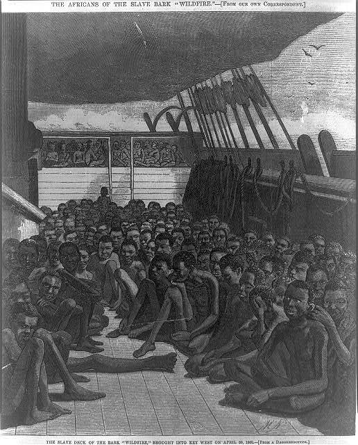 "The slave deck of the 'Wildfire"" ship brought into Key West on April 30, 1860, illustration, <em>Harper's Weekly</em>, June 2, 1860, courtesy of the Library of Congress.<a title=""loc"" href=""https://www.loc.gov"" target=""_blank""><br /></a>"