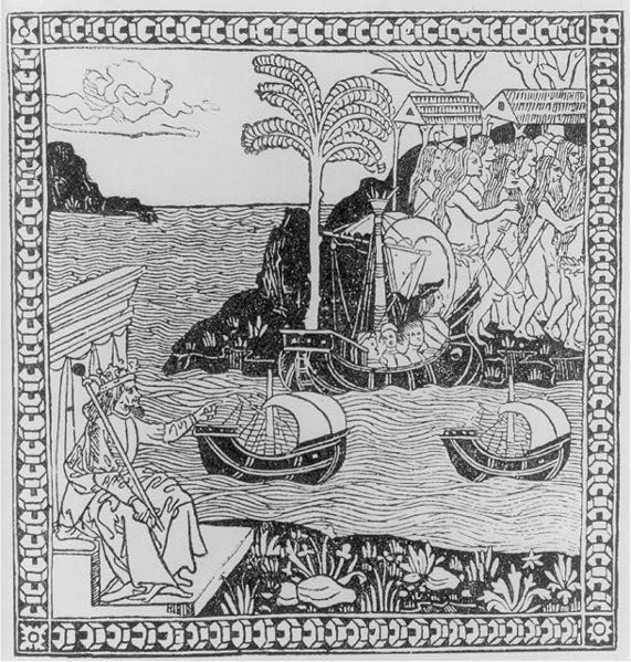 Ferdinand II pointing across Atlantic to where Columbus is landing with three ships amid large group of Indians, ca. 1500, courtesy of the Library of Congress.
