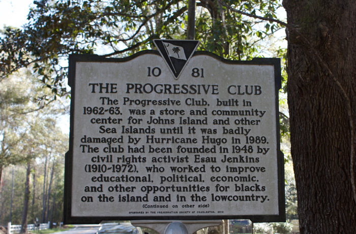 Progressive Club Historical Marker, photograph by Monica Bowman, Johns Island, South Carolina, March 15, 2016.