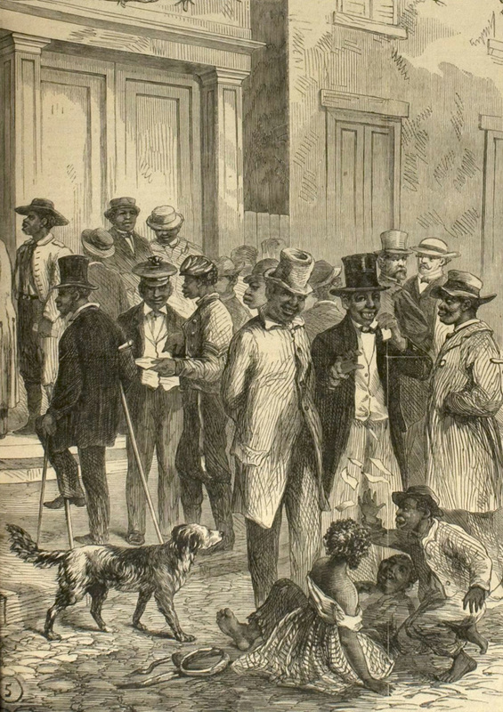 "<span>""Freedmen ... New Orleans,""</span>1867, sketch by James E. Taylor in <em>Frank Leslie's Illustrated Newspaper</em>, courtesy of Library of Congress."