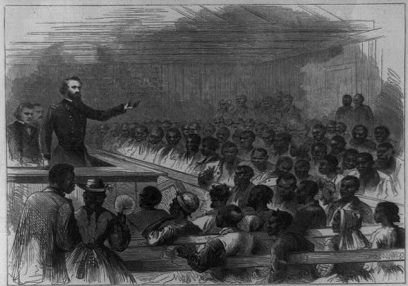 <p><span>Generals Steedman and Fullerton conferring with the freedmen in their church at Trent River Settlement, 1866, sketch by Theodore R. Davis,<em>Harper's Weekly</em>, courtesy of Library of Congress Prints and Photographs Division.</span></p>