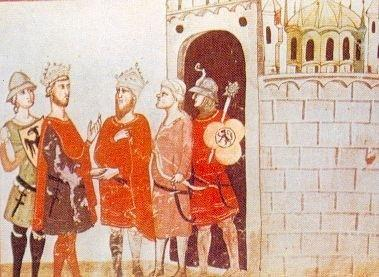 Emperor Frederick II, a Christian crusader from Italy, meets al-Kamil, Muslim ruler of Egypt, during the Sixth Crusade (1228-29), from a manuscript of the Nuova Cronica by Giovanni Villani, ca. 1341-48.