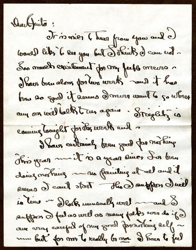 Georgia O'Keefe's letter response to Anita Pollitzer's invitation to visit, Anita Pollitzer Family Papers, South Carolina Historical Society.