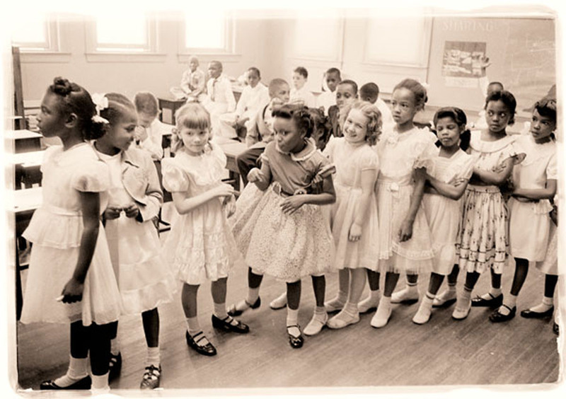 Early Integration at the Barnard Elementary School , photograph by Thomas J O'Halloran, May 27, 1955, Washington, D.C., courtesy of the Library of Congress.