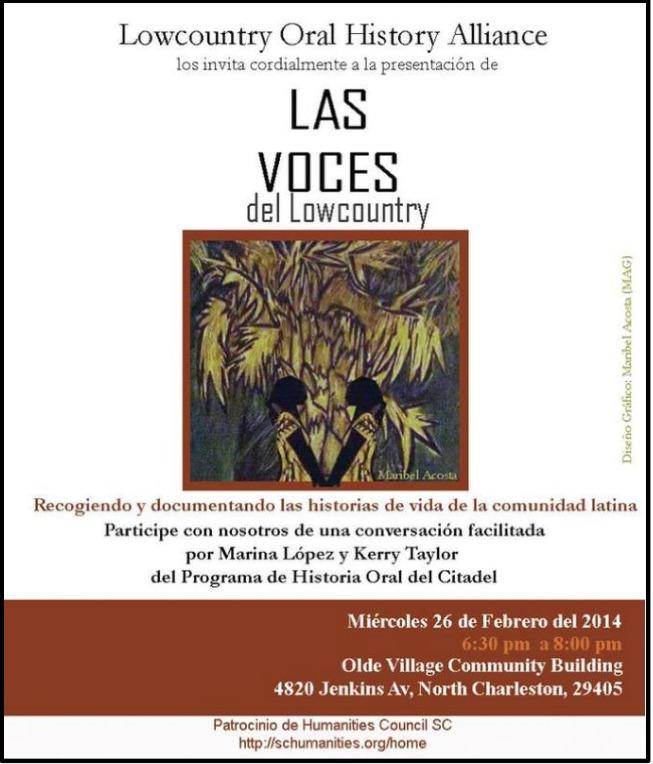 """Folleto del proyecto """"Las Voces del Lowcountry"""", 26 de febrero de 2014."""