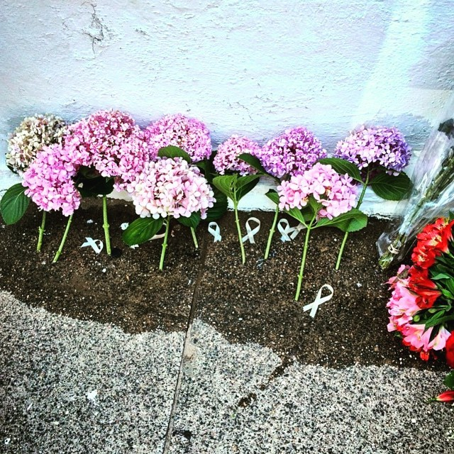 Hydrangeas and ribbons left in honor of the victims of the mass shooting, Instagram photograph by Ashley Edge, June 18, 2015, Charleston, South Carolina.