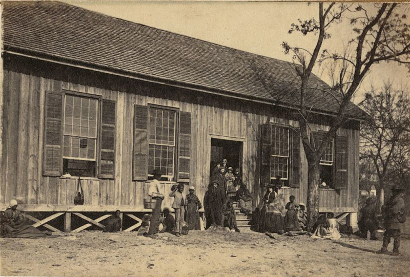 Freedmen's school, image by Samuel A. Cooley, Edisto Island, South Carolina, ca. 1862-1865, Gladtsone Collection of African American Photographs, courtesy of the Library of Congress.