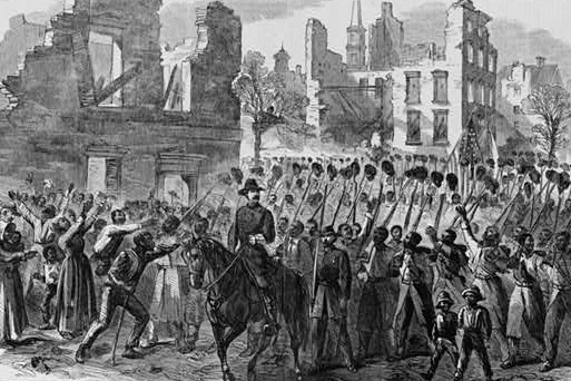 """""""Marching on!""""--The Fifty-fifth Massachusetts Colored Regiment singing John Brown's March in the streets of Charleston, South Carolina, 1865, wood engraving, <em>Harper's Weekly</em>, courtesy of Library of Congress Prints and Photographs Division."""