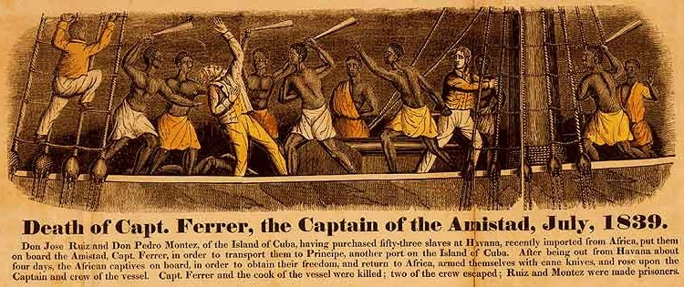 """Death of Capt. Ferrer, the Captain of the Amistad, July 1839,"" engraving and frontispiece from John Warner Barber, <em>A History of the Amistad Captives</em>, 1840."