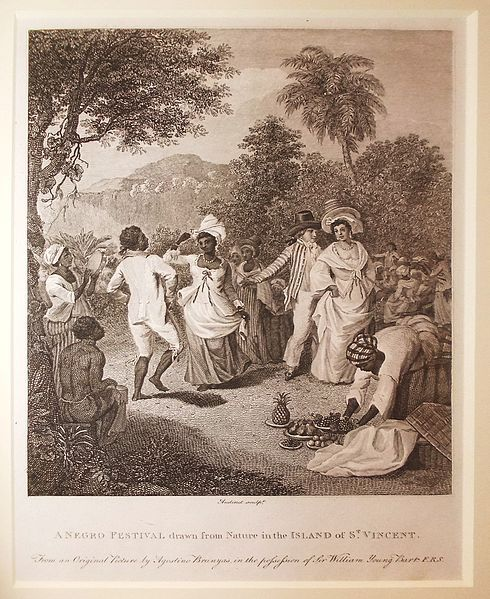 """A Negro Festival drawn from Nature in the Island of St Vincent,"" engraving by Audinet, 1801, courtesy of the © National Maritime Museum, Greenwich, UK. In the seventeenth and eighteenth centuries, enslaved Africans in Barbados sometimes escaped by boat to nearby islands such as St. Vincent. On this mountainous island, Amerindian Kalinagos allowed Africans to become a part of their social structure and intermarry after 1660, when Kalinago relations soured with European allies. Many of St. Vincent's current inhabitants are descendants of these escaped Africans and Amerindians."
