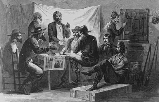 """Secret meeting of Southern unionists,"" 1866, wood engraving by Alfred R. Waud, <em>Harper's Weekly</em>, courtesy of Library of Congress Prints and Photograph Division."