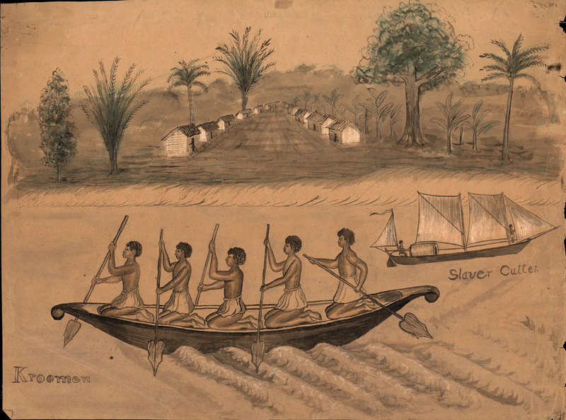 Large Canoe and Village Scene, possibly Liberia, mid-19th century, courtesy of University of Virginia Library, Special Collections.