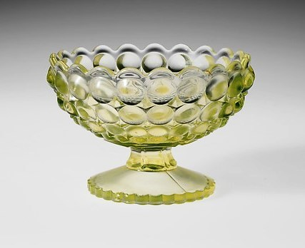 Sauce Dish, created by Richards and Hartley Flint Glass Co., ca. 1888,  Tarentum, Pennsylvania, courtesy of the Metropolitan Museum of Art.