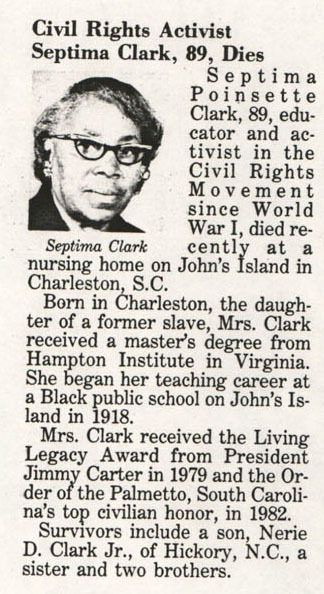 Septima Clark's obituary, <em>Jet</em>, January 11, 1988, Septima P. Clark Papers, courtesy of the Avery Research Center.