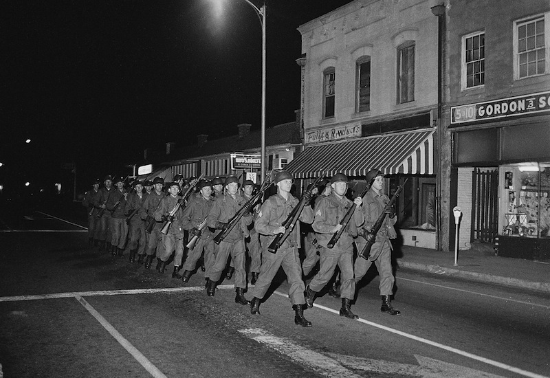 South Carolina National Guard troops marching in the streets of Orangeburg, South Carolina, February 1968, image by Bill Barley, courtesy of South Carolina Political Collections, University of South Carolina.