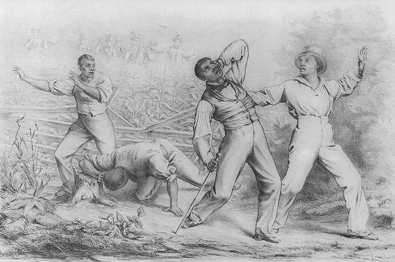 """Effects of the Fugitive-Slave-Law,"" drawing depicting four African American enslaved or freedmen ambushed by armed white men, Theodor Kaufmann, 1850, courtesy of the Library of Congress."