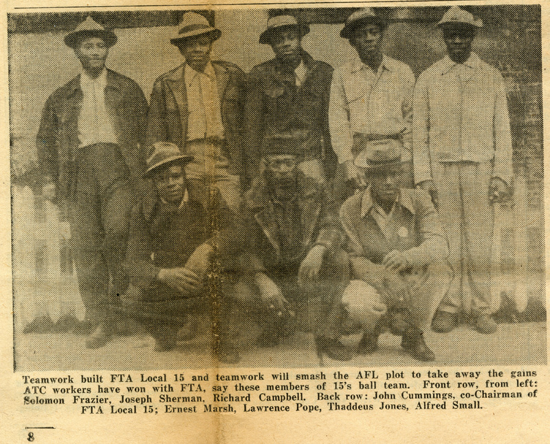Local 15 union members at the Cigar Factory, Charleston, South Carolina, detail image from FTA News, March 1948, courtesy of the South Carolina Historical Society.