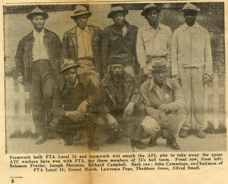 Local 15 union members at the Cigar Factory, Charleston, South Carolina, detail image from FTA News, March 1948, courtesy of the South Carolina Historical Society.