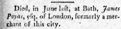 City Gazette and Daily Advertiser, September 20, 1799, Charleston, South Carolina, courtesy of America's Historical Newspapers.