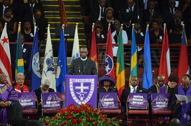Speaker at Reverend Pinckney's funeral, June 26, 2015, Charleston, South Carolina, courtesy of ABC New4 WCIV-TV.