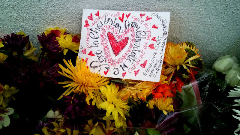 Messages from across the country left at the Emanuel AME Church, photograph by Toni Carrier, June 23, 2015, Charleston, South Carolina.