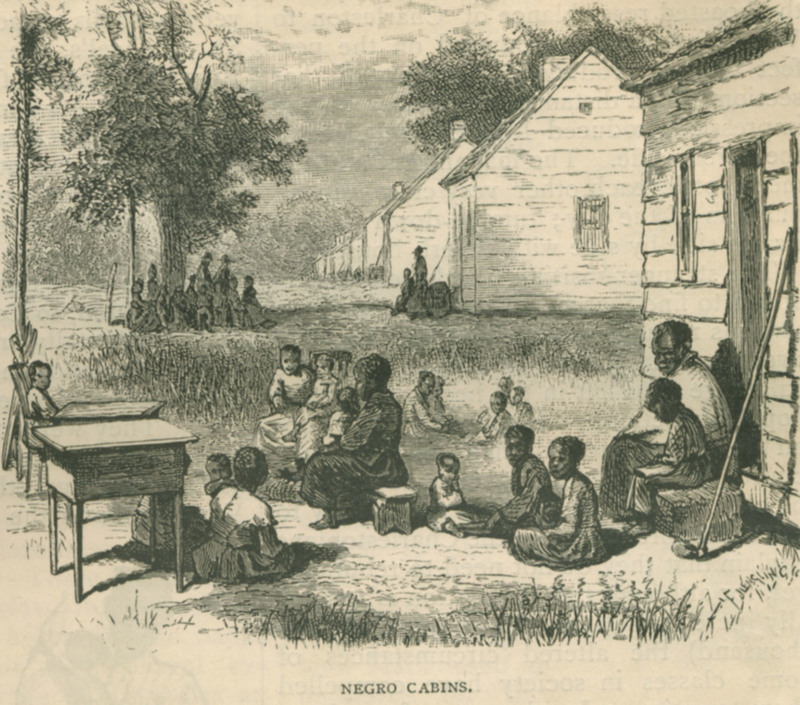 Enslaved African Americans outside of their plantation cabin homes, from Scribner's Monthly, Charleston, South Carolina, 1874, courtesy of University of Virginia Library.