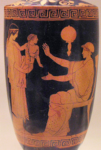 "Greek slave presenting infant to its mother, vase, Eretria, Ancient Greece, 470-460 B.C., courtesy of the National Archaeological Museum.<a title=""National Archaeological Museum, Athens, Greece"" href=""http://www.namuseum.gr/wellcome-en.html"" target=""_blank""><br /></a>"