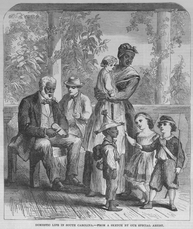"Depiction of two enslaved domestic workers and an enslaved child playing at the servitude of white children titled ""Domestic Life in South Carolina,"" printed in The Illustrated London News, 1863, courtesy of the New York Public Library."