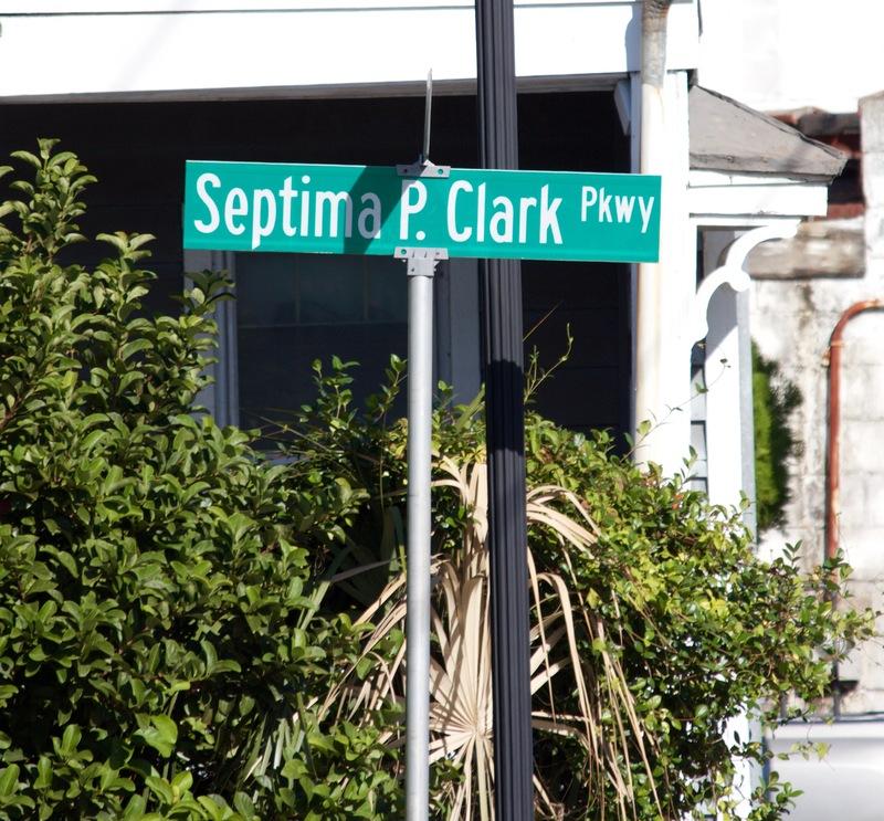 Septima P. Clark Expressway sign, photograph by Monica Bowman, Charleston, South Carolina, October 19, 2016.
