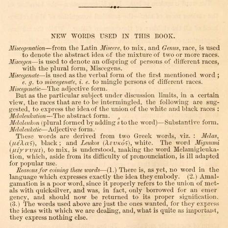 Excerpt from <em>Miscegenation; the theory of the blending of the races, applied to the American white man and Negro</em>, by David G. Croly, 1864, courtesy of the Johns Hopkins University Sheridan Libraries.