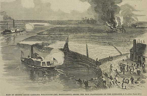 Wood engraving depicting enslaved people escaping to a Union ship, Harper's Weekly, Combahee, South Carolina, 1863, courtesy of Library of Congress.