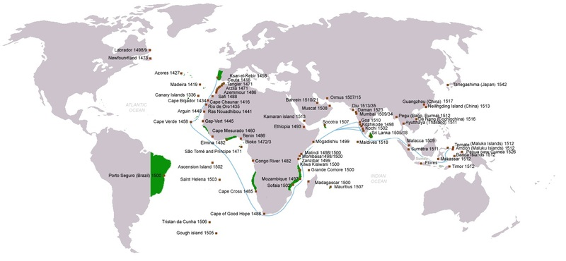 Map of Portuguese discoveries, exploration, contacts and conquests, 1336 to 1543, created 2009. Arrival dates noted with location; main sea routes to the Indian Ocean in blue; and territories claimed under King John III of Portugal (r. 1521-57) in green.