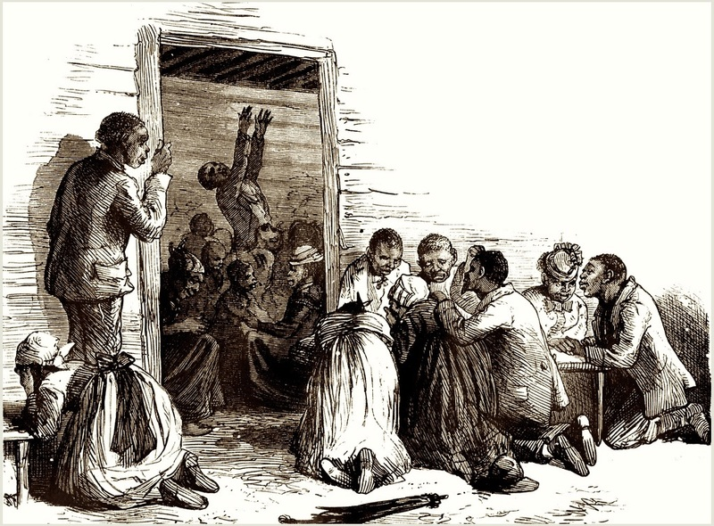 A group of enslaved people attending a religious prayer meeting, from Scribner's Monthly, an Illustrated Magazine for the People, 1874, courtesy of Florida Center for Instructional Technology.