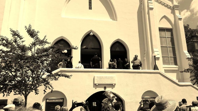 A crowd with police security at Emanuel AME Church for the first Sunday service since the shooting, photograph by Harry Egner, June 21, 2015, Charleston, South Carolina.