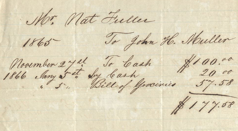 Grocery bill for Nat Fuller, 1865, Simons & Simons Case Records, courtesy of the South Carolina Historical Society.