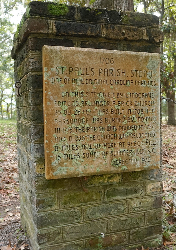 Historical marker at St Paul's Parish Churchyard, photograph by Cappy Yarbrough, Stono Preserve, 2019.