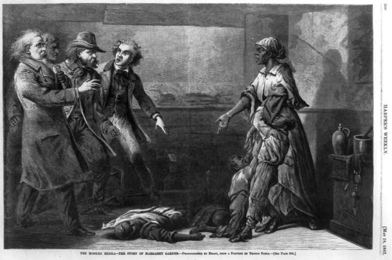 Wood engraving depicting Margaret Garner, an enslaved African American woman who murdered her children to avoid thier re-enslavement, Thomas Noble, 1867, courtesy of the Library of Congress.